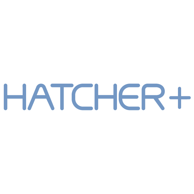 Hatcher+ logo blue on transparency